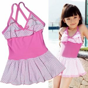 H002  女児水着 子供 水着+キャップ  ドット付き かわいい 可愛い女の子 みずぎ  (身長80-150cm)ピンク・ブルー セール開催中