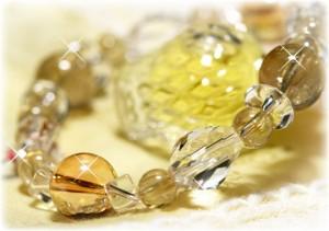【送料無料】強力な 金運 と最高の贅沢感☆ ルチル & ゴールデンアクアオーラ  パワーストーンブレスレット