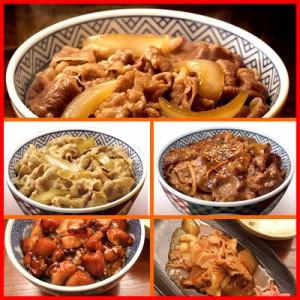 【送料無料】吉野家5種15食セット(牛丼の具7食 豚丼の具2食 牛焼肉丼の具2食 焼鶏丼の具2食 豚しょうが焼き2食 計15食)特別セール中!