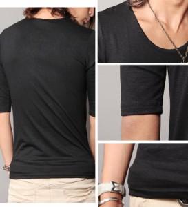 Special Weekly SALE開催!! Tシャツ メンズ 無地 タダ割 trend_d roshell JIGGYS / Uネック無地5分袖Tシャツ