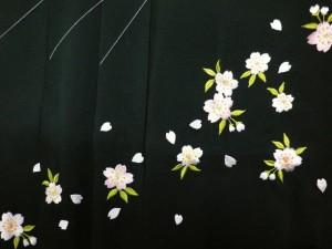 卒業式&謝恩会♪レンタルよりお得♪グラデーションぼかし刺繍袴(はかま)緑地桜M・L