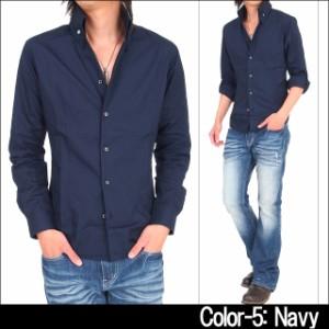 カジュアルシャツ メンズ 2WAY ブロードシャツ 長袖 無地 カラーシャツ スキッパー ボタンダウン 日本製 国産 白 黒  / pre_d
