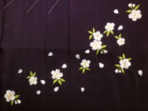 卒業式&謝恩会♪レンタルよりお得♪グラデーションぼかし刺繍袴(はかま)紫地桜M・L