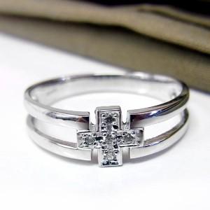 十字架デザインK18WGリング
