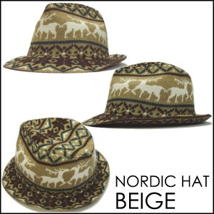 (帽子 ハット ) メンズ帽子レディース 送料無料 中折れハット 新商品 男女兼用 トナカイ 雪 結晶