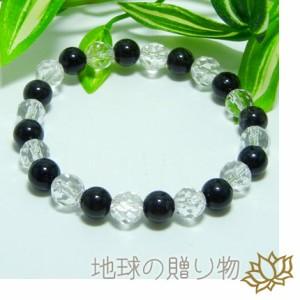 仕事がスムーズ・漆黒ブラックルチル8mm&ヒマラヤ水晶ブレス