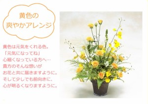 【お見舞いのお花】黄色の爽やかアレンジ