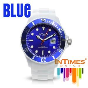 INTIMES(インタイムス) 44mm シリコン ホワイト ダイバー メンズ/レディース 腕時計 IT057MC