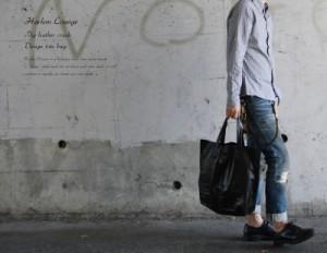【送料無料】【Harlem Rounge/ハーレムラウンジ】本革ピッグレザークラックトートバッグ/ひび割れ加工◆2050【pre_d】