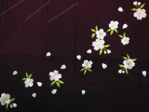 卒業式&謝恩会♪レンタルよりお得♪グラデーションぼかし刺繍袴(はかま)エンジ地桜M・L
