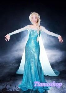 アナと雪の女王    エルサ女王 風  衣装+ウイッグ+髪飾りセット コスプレ衣装 ★ 完全オーダメイドも対応可能 * K3260