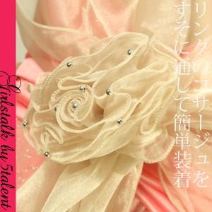 シャイニー&大きなコサージュ!ドレス・ワンピが華やかになるお手伝い♪ショール・ストール♪【結婚式・二次会に 通版 dress】