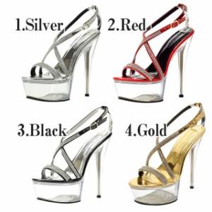 [outlet/59%OFF]美脚MAKE法則15cmヒール!300粒ライスト付ストラップ クリア サンダル ミュール 靴 厚底 キャバ