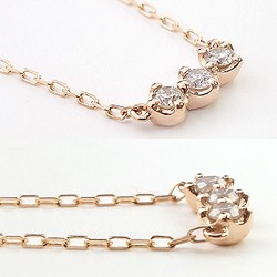 ダイヤモンドネックレス トリロジー スリーストーン ダイヤモンド 18金 K18 ペンダント 3石