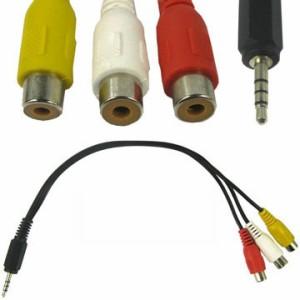 [送料無料][海外]3.5mm4極ミニプラグ(オス)3RCAビデオケーブル(コンボジット映像+音声)(メス)変換約0.3m[納期:約2-3週間]
