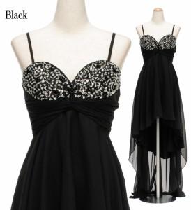 【アウトレット】スパン&ビジュー装飾 ハートカットデコルテ シフォンマレットドレス