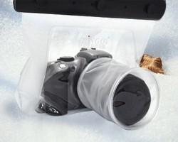 一眼レフカメラ用防水バッグ(レンズ8.5×10cm)■ケースにいれたまま操作可能!ストラップ付属