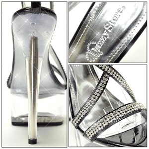 美脚MAKE法則15cmヒール!300粒ライスト付ストラップ クリア サンダル ミュール 靴 厚底 キャバ