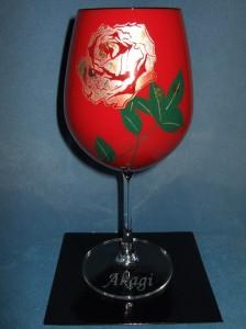 ☆蒔絵グラス♪ボルドー 赤 《バラ》☆誕生祝・結婚祝・還暦祝のプレゼントに最適♪