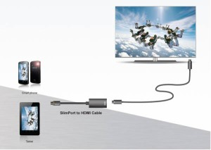 LG Gpro/G2 Tab用 slimport to VGA 変換アダプタ★microUSBメス給電付☆1080Pサポート