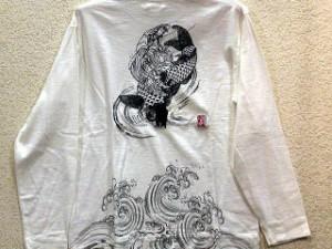 【値下げ!】カラクリ 和柄長袖Tシャツ 鯉と観音 KARAKURI