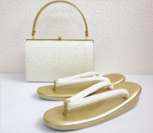 留袖結婚式・訪問着に 礼装用帯地草履バッグセット薄銀織地菊菱紋様M・L