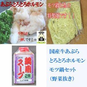国産牛モツ鍋セット(野菜抜き)醤油味(2〜3人前用)【B級グルメ】モツ鍋