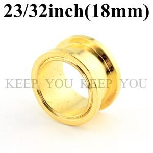 【メール便 送料無料】ボディピアス フレッシュトンネル ゴールド 23/32inch(18mm) Anodized Gold ボディーピアス ┃