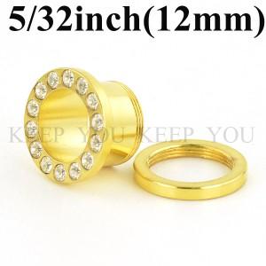 【メール便 送料無料】フレッシュトンネル ゴールド キュービックCZ付き 5/32inch(12mm)Anodized【ボディーピアス/ボディピアス】 ┃