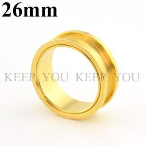 【メール便 送料無料】ボディピアス フレッシュトンネル ゴールド 26mm Anodized Gold ボディーピアス ┃