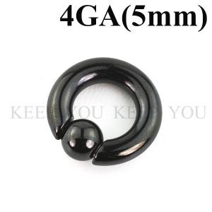 メール便 送料無料 キャプティブビーズリング ブラック 4GA(5mm)BCR SPRINGBALL Anodized BLACK【ボディピアス/ボディーピアス】 ┃