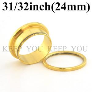 【メール便 送料無料】ボディピアス フレッシュトンネル ゴールド 31/32inch(24mm) Anodized Gold ボディーピアス ┃