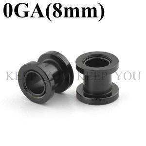 メール便 送料無料/フレッシュトンネル ブラック 0GA(8mm) Anodized Black 【/ボディーピアス/ボディピアス】 ┃