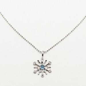 [期間限定] [2] プラチナ ブルートパーズ ダイヤモンド 雪の結晶 スノーモチーフ アナ雪 ペンダント ネックレス プレゼント
