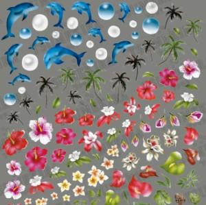 ツメキラ パームツリー ★佐藤樹梨先生プロデュース!イルカ&ハイビスカス・話題のヤシの木!重ねて貼れる春ネイルシール♪