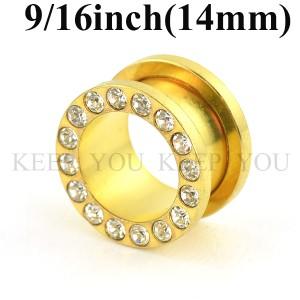 【メール便 送料無料】ボディピアス フレッシュトンネル ゴールド キュービックCZ付 9/16inch(14mm)Anodized  ┃