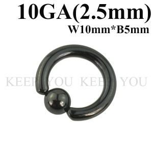 メール便 送料無料 キャプティブビーズリング ブラック10GA(2.5mm) BCR Anodized Black 【ボディピアス/ボディーピアス】 ┃