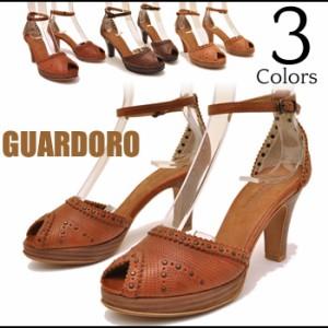 スタッズステッチ鋲プラットフォーム オープントゥセパレートパンプス GUARDOLO ガルドロ 靴