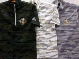 BE AMBITION  半袖Tシャツ ジップアップ カモフラ 百合ウィングラインストーン ビーアンビション