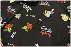セール LOW BLOW KNUCKLE(ローブローナックル) 半袖シャツ メンズ ハワイアン総柄 55403