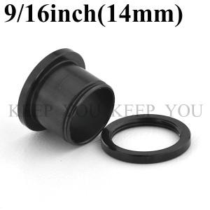 【メール便 送料無料】ボディピアス フレッシュトンネル ブラック 9/16inch(14mm) Anodized Black ┃