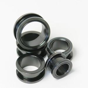 【メール便 送料無料】ボディピアス フレッシュトンネル ブラック 23/32inch(18mm) Anodized Black ボディーピアス ┃
