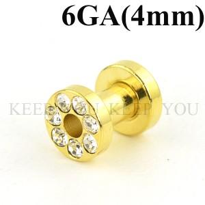 【メール便 送料無料】フレッシュトンネル ゴールド キュービックCZ付き 6ゲージ(4ミリ)アイレット【ボディーピアス】6GA(4mm) ┃