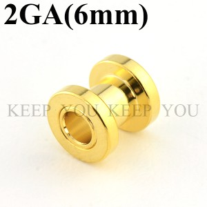 【メール便 送料無料】ボディピアス フレッシュトンネル ゴールド 2GA(6mm)アイレット【ボディーピアス】 2ゲージ(6ミリ) ┃