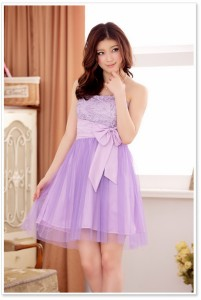 結婚式お呼ばれパーティードレス胸元花柄レースリボンチュールミニドレスワンピース大きいサイズ有[F/2L/3L/4L][シャンパン/紫/オレンジ]