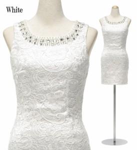 【アウトレット】【4サイズ】パールビジュー×ケミカルレース ノースリーブワンピースドレス