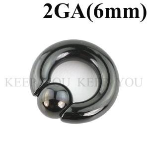 メール便 送料無料 キャプティブビーズリング ブラック 2GA(6mm)BCR SPRINGBALL Anodized BLACK【ボディピアス/ボディーピアス】 ┃