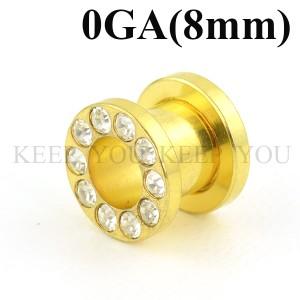 【メール便 送料無料】フレッシュトンネル ゴールド キュービックCZ付き 0ゲージ(8ミリ)【ボディーピアス】ボディピアス 0GA(8mm) ┃