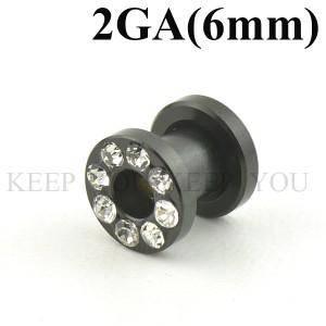 メール便 送料無料/ボディピアス フレッシュトンネル ブラック キュービックCZ付き 2GA(6mm)Anodized ボディーピアス ┃