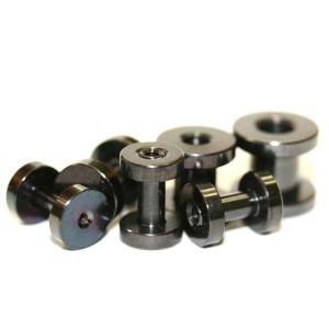 【メール便 送料無料】フレッシュトンネル ブラック 6GA(4mm) Anodized Black 【ねじ式/ボディーピアス/ボディピアス】 ┃
